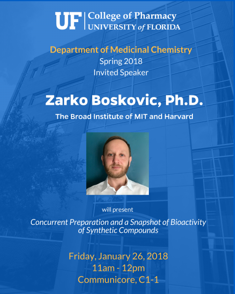 Seminar Announcement - Zarko Boskovic, Ph.D.