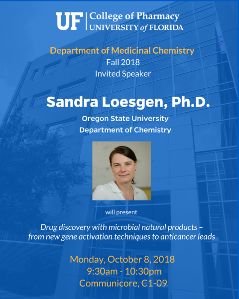 Seminar announcemnet for invited speaker Sandra Loesgen, Ph.D.