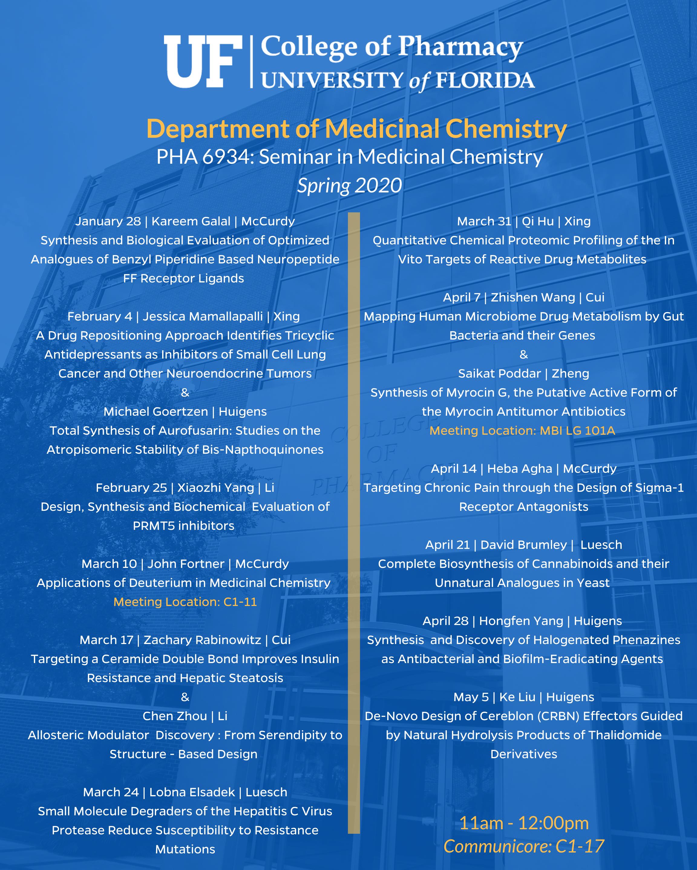 Department of Medicinal Chemistry PHA 6934: Seminar in Medicinal Chemistry